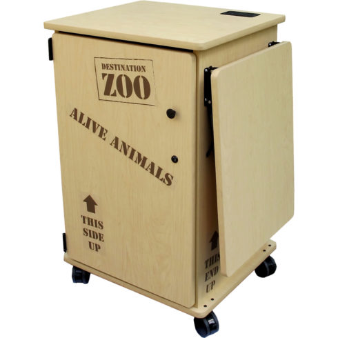 Mobile cabinet with door lock, and storage area. Educational furniture.