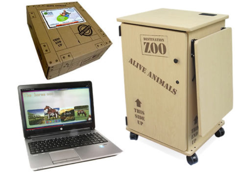 bundled solution for early literacy with augmented reality software and rolling cabinet
