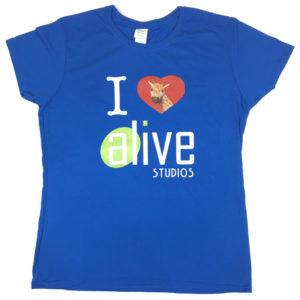 ladies blue alive studios tshirt