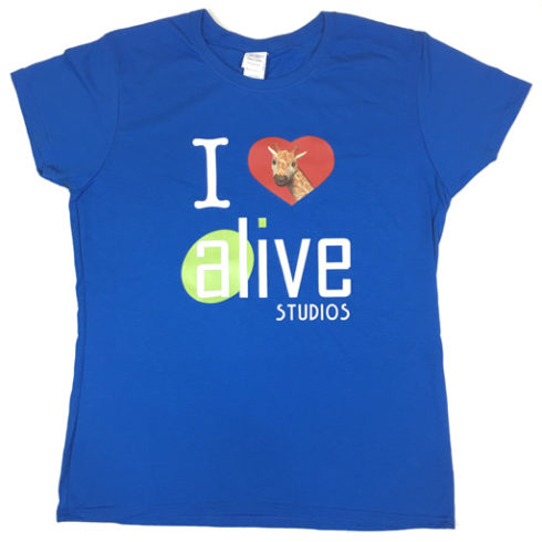 ladies blue alive studios tshirt