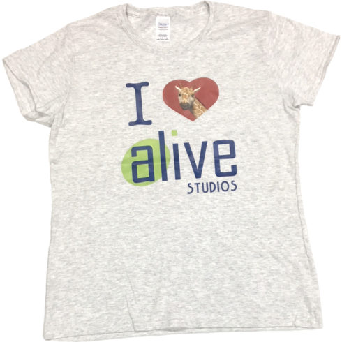 ladies light grey alive studios tshirt